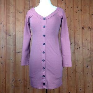 Forever 21 Mauve Button Up Body Con Mini Dress L